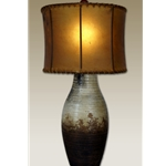 Clay Lamp with Oval Rawhide Shade