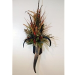 Western Horn Wall Sconce with Natural Protea and Rooster Feathers