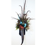 Horn Wall Sconce with Turquoise, Pods and Feathers