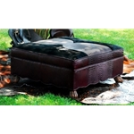 Embossed Leather Ottoman