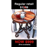 "MXP-5121-0860 INLAY SIDE TABLE-24"" TURQUOISE BEVELED MESQUITE"