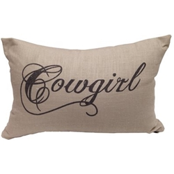 Cowgirl Burlap Pillow-8115