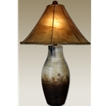 Clay Lamp with Triangular Rawhide Shade