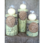 Green Candle Holder with Beige Floral Design